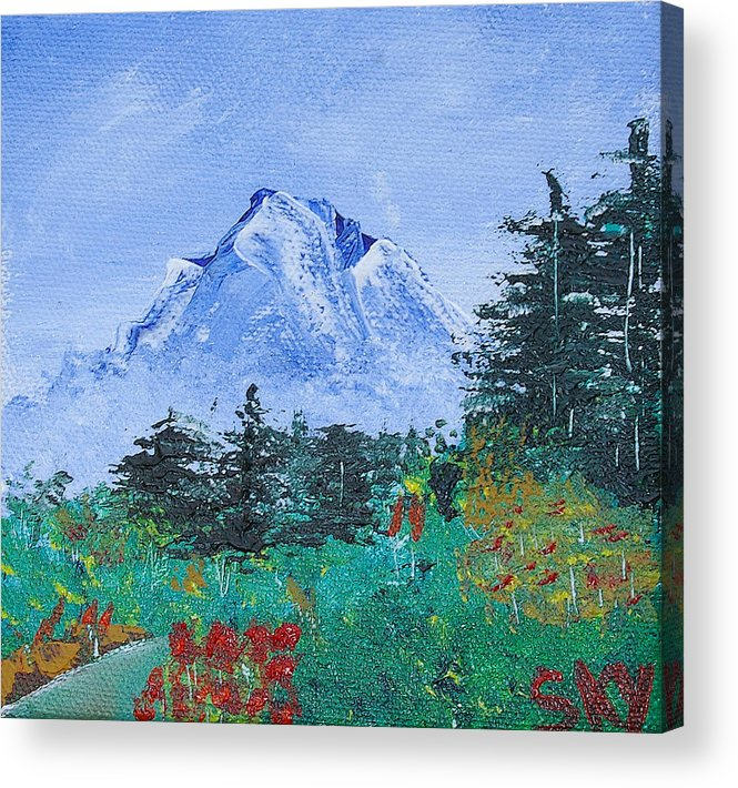Nature Acrylic Print featuring the painting My Mountain Wonder by Jera Sky