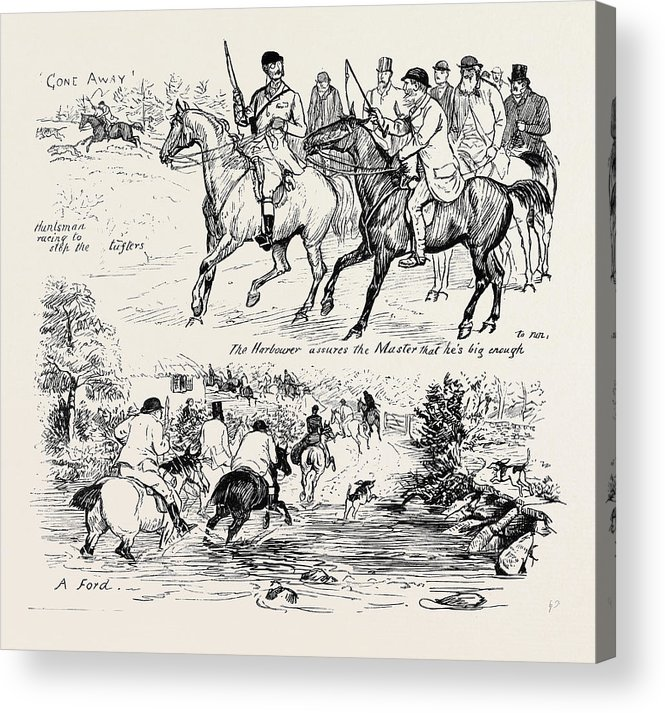 Deer Acrylic Print featuring the drawing At A Deer Hunt On Exmoor by English School