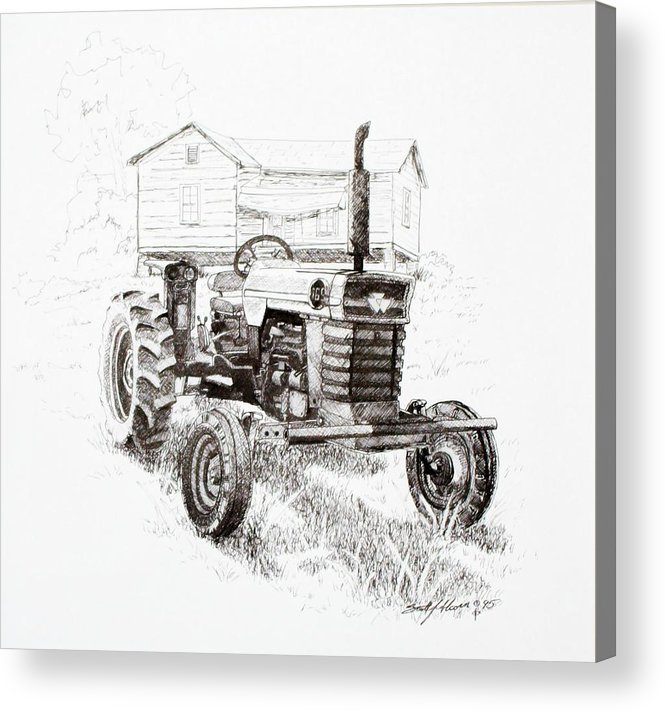 Tractor Acrylic Print featuring the drawing Better Days by Scott Alcorn