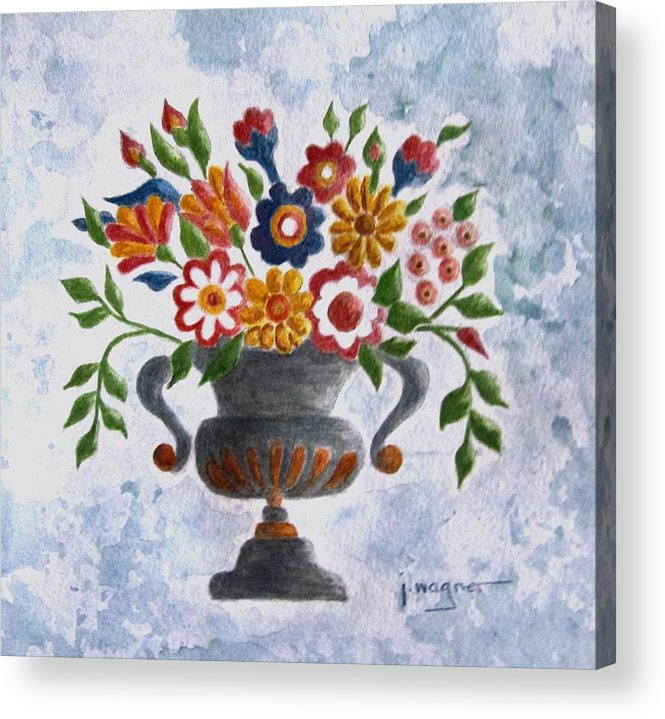 Floral Painting Baltimore Quilt Acrylic Print featuring the painting Folk Art Floral by Janet Wagner