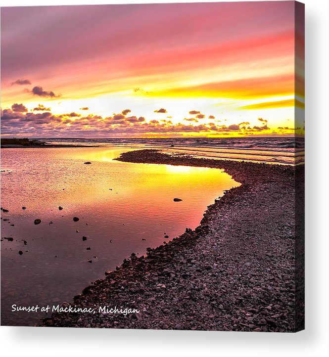 View Opposite Of Mackinac Bridge From Mcgulpin Point At Sunset. Acrylic Print featuring the photograph View Opposite Of Mackinac Bridge From Mcgulpin Point At Sunset. by LeeAnn McLaneGoetz McLaneGoetzStudioLLCcom