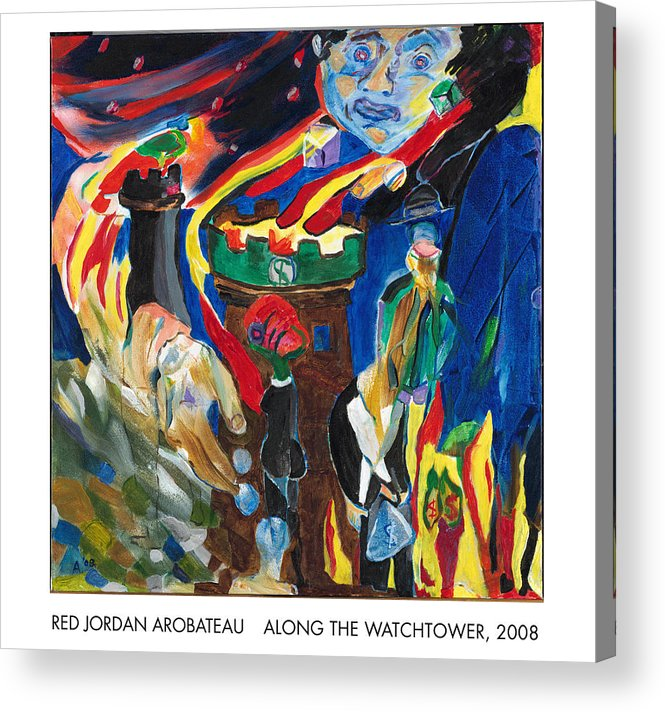 Babylon Acrylic Print featuring the painting Along The Watchtower by Red Jordan Arobateau