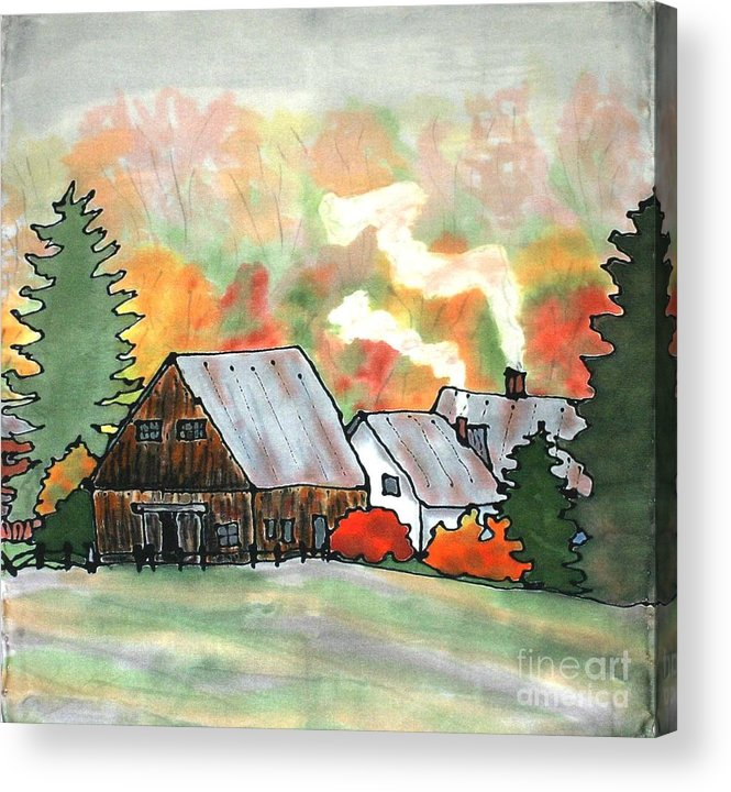 Vermont Acrylic Print featuring the painting Autumn Chill Silk Painting by Linda Marcille