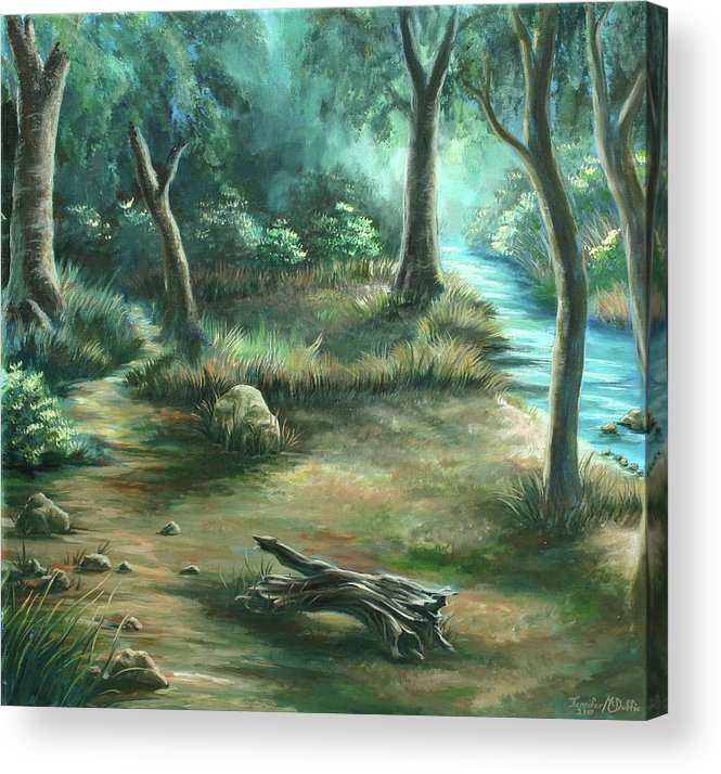 Landscape Acrylic Print featuring the painting Camping At Figueroa Mountains by Jennifer McDuffie