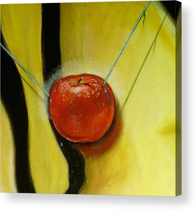 Apple Acrylic Print featuring the painting Detail Of The Temptation. by Roger Calle