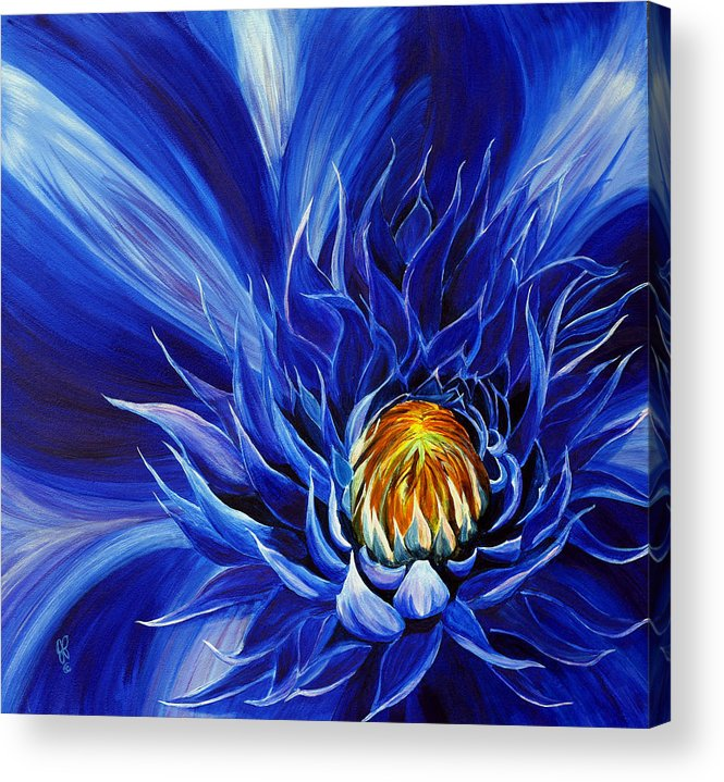 Macro Flower Acrylic Print featuring the painting Electric Blue by Julie Pflanzer