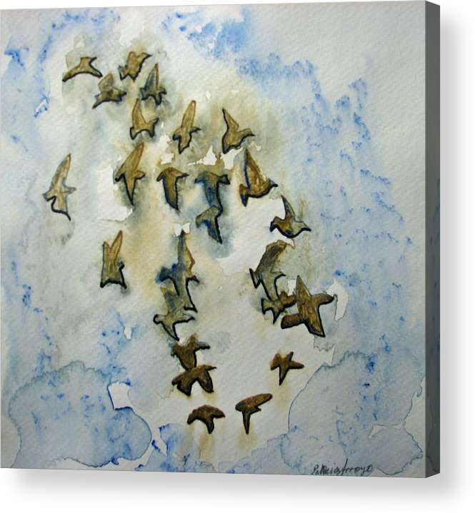 Birds Acrylic Print featuring the painting Flocking Birds by Patricia Arroyo