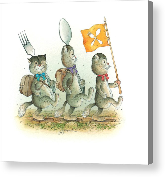 Cat Kitchen Food Acrylic Print featuring the painting Lazinessland05 by Kestutis Kasparavicius
