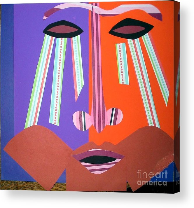 Mask Acrylic Print featuring the mixed media Mask With Streaming Eyes by Debra Bretton Robinson