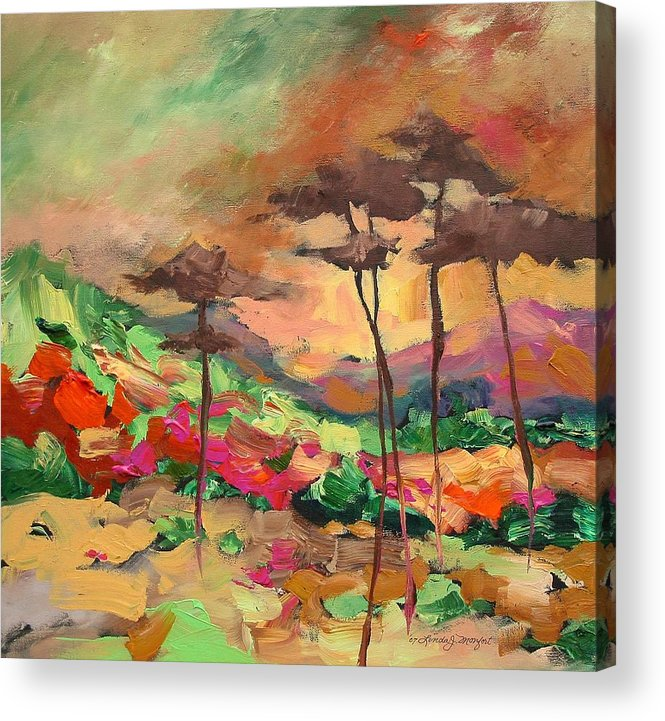 Landscape Acrylic Print featuring the painting Moment Of Serenity by Linda Monfort