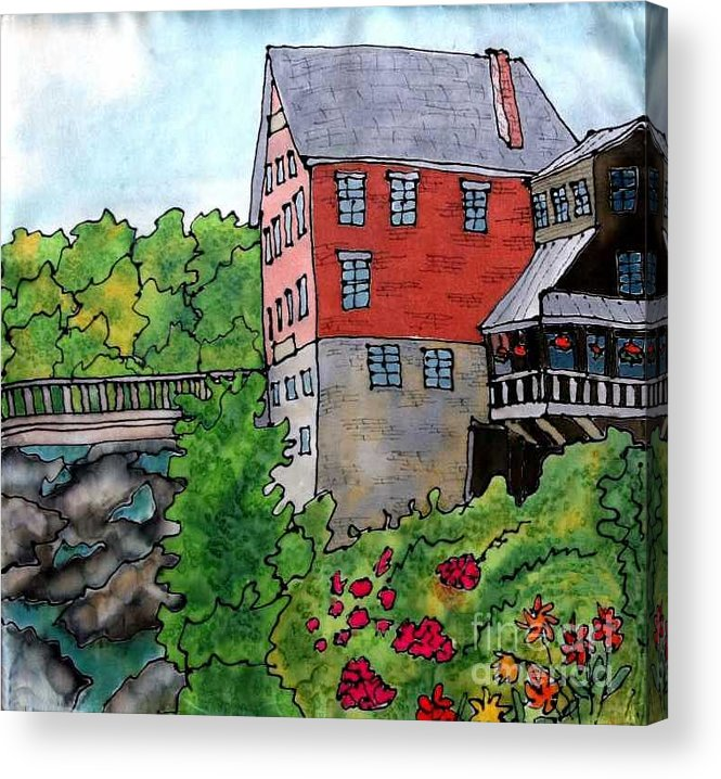 Old Mill Acrylic Print featuring the painting Old Mill In Bradford by Linda Marcille