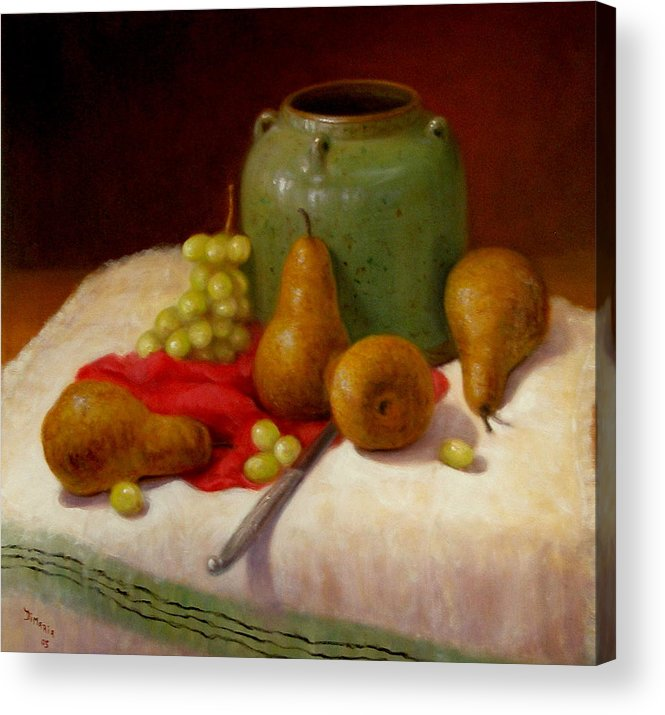 Realism Acrylic Print featuring the painting Pears And Grapes by Donelli DiMaria