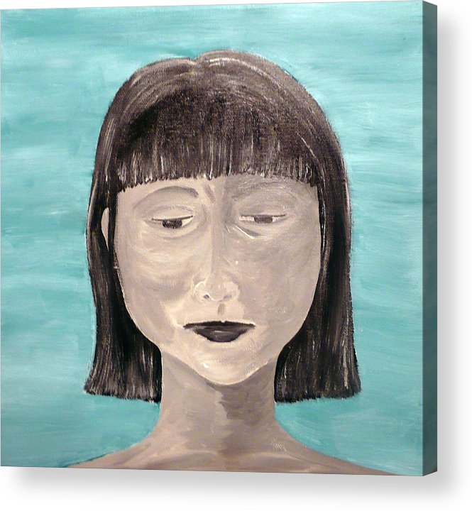 Portrait Acrylic Print featuring the painting Sadness by Jennifer Hernandez