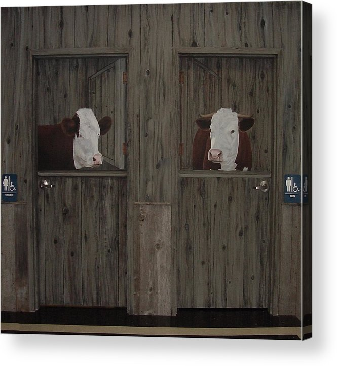 Cows Acrylic Print featuring the painting Which Stall Do I Go In by Sandra Poirier