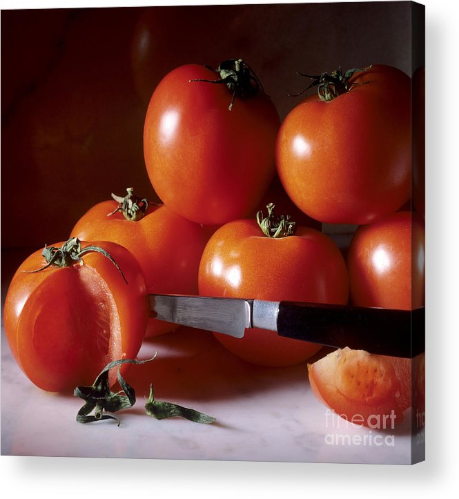 Cut Food Indoors Indoor Inside Knife Knives Nobody Nutrition Sharp Sliced Solanum Lycopersicum Acrylic Print featuring the photograph Tomatoes And A Knife by Bernard Jaubert