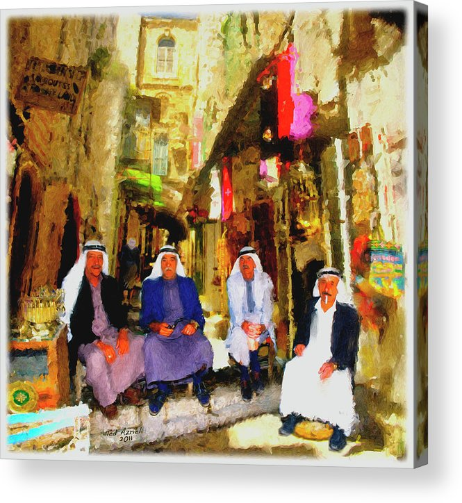 Arab Art Paintings Acrylic Print featuring the painting Arab Merchants Of Jerusleum by Ted Azriel