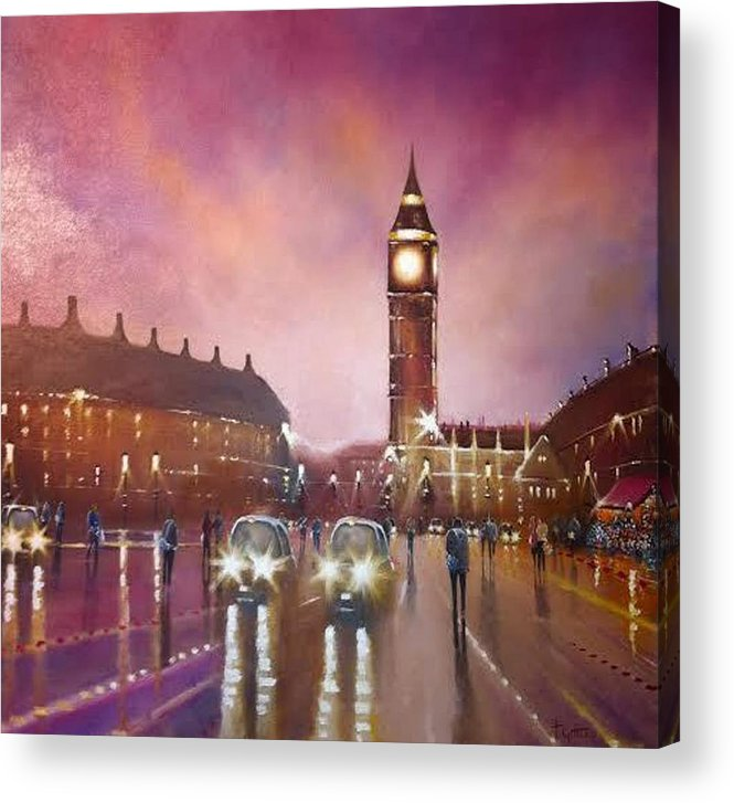 Oil Painting Depicting Shoppers And Cabs In Front Of Big Ben London Acrylic Print featuring the painting City Lights by Tony Gittins