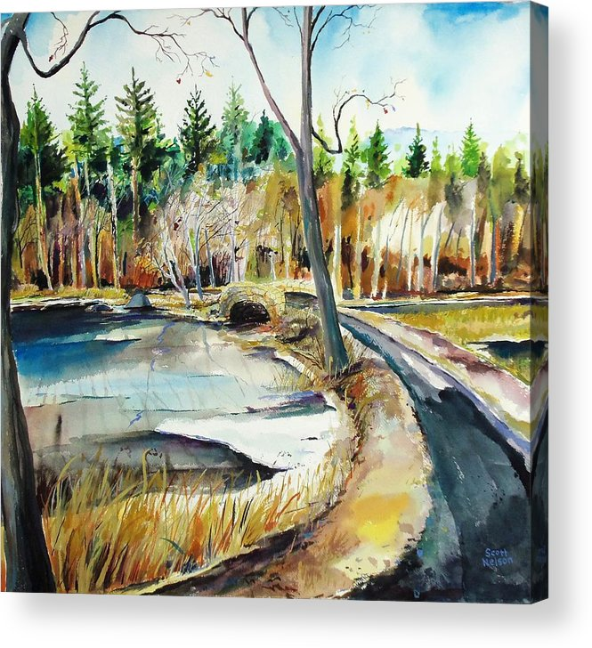Hopedale Acrylic Print featuring the painting Hopedale January Thaw by Scott Nelson