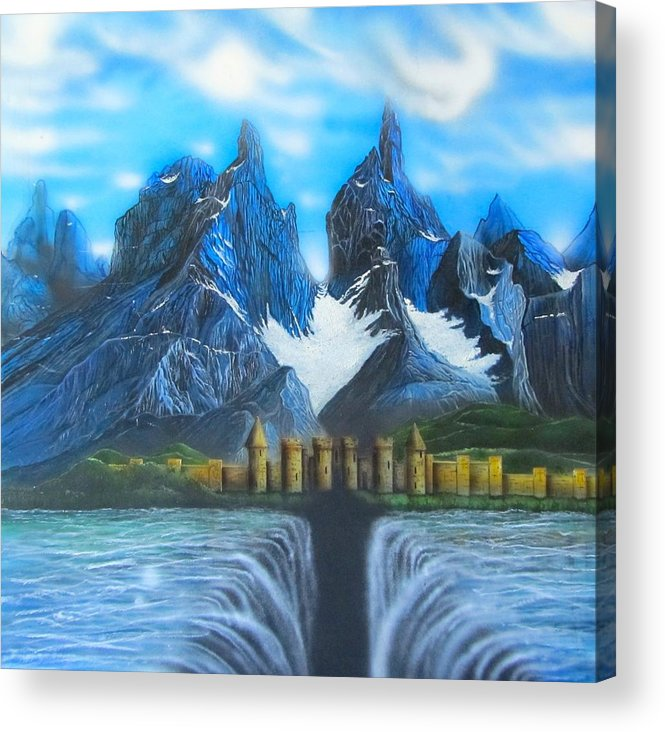 Landscapes Acrylic Print featuring the painting The Day The Bottom Fell Out by Sam Del Russi