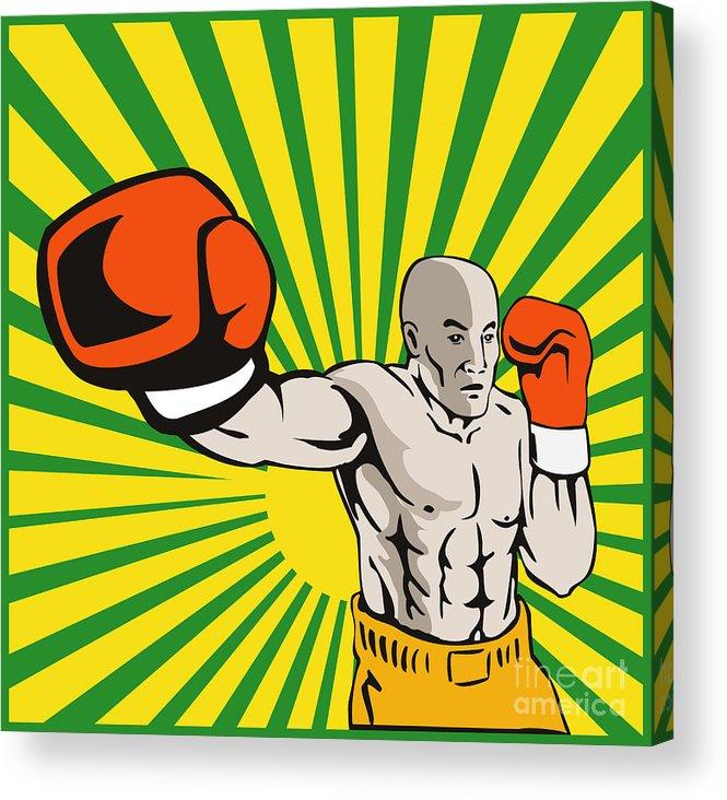 Boxer Acrylic Print featuring the digital art Boxer Boxing Jabbing Front by Aloysius Patrimonio