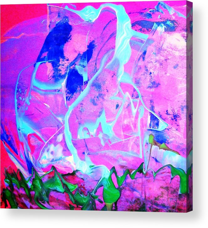 Pink Acrylic Print featuring the painting Among The Many Mysteries Underneath The Sea by Bruce Combs - REACH BEYOND