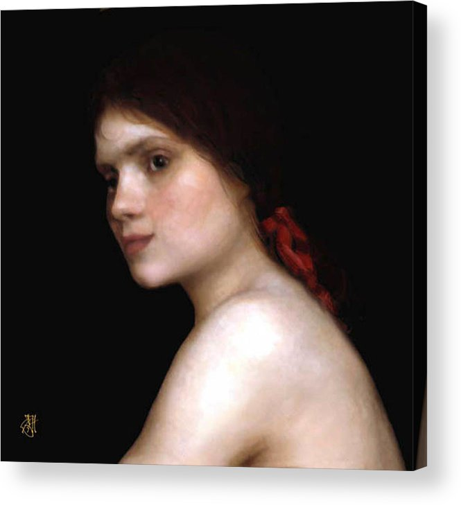 Portrait Of A Young Woman. Acrylic Print featuring the digital art Angela's Ribbon by John Helgeson
