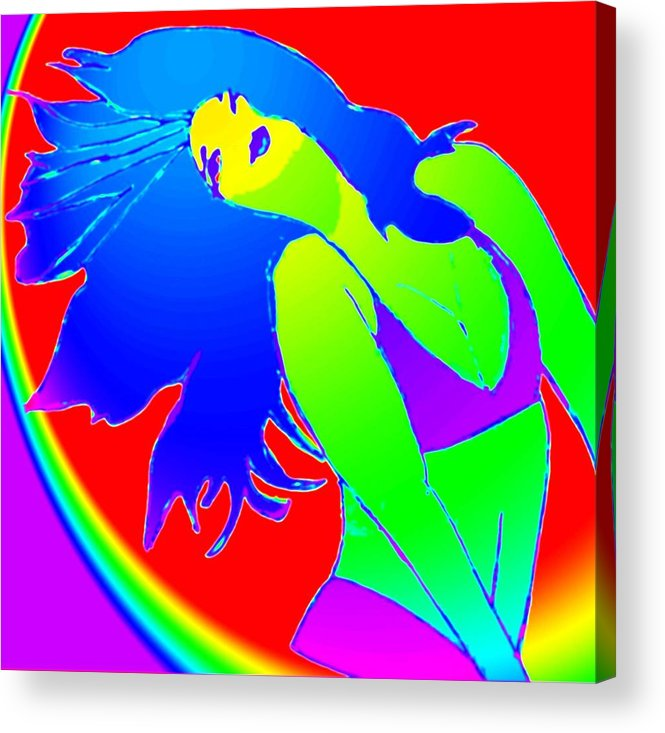 Woman Acrylic Print featuring the drawing Beauty If A Rainbow by Jennifer Ott