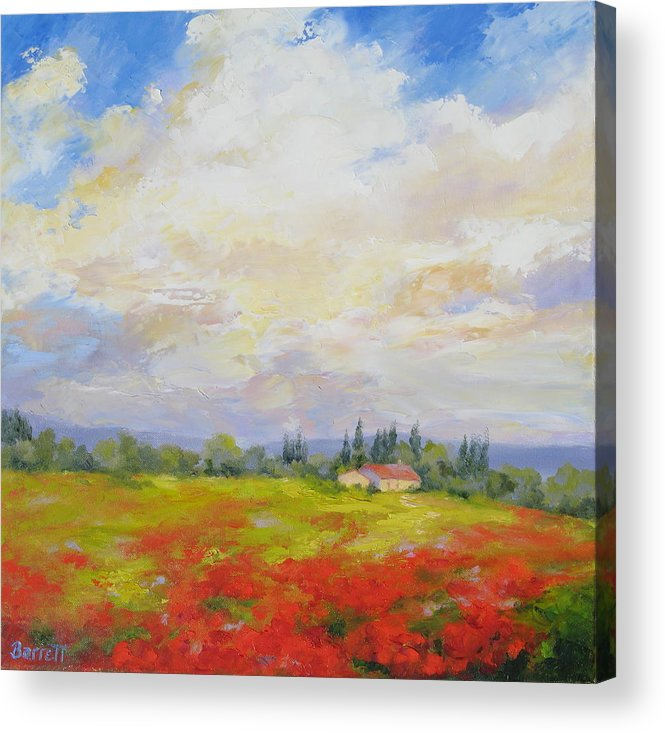 Poppies Acrylic Print featuring the painting Cloud Poppies by Barrett Edwards