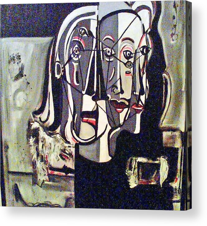 Abstract Portrait Modern Art Acrylic Print featuring the painting Connected by DC Campbell