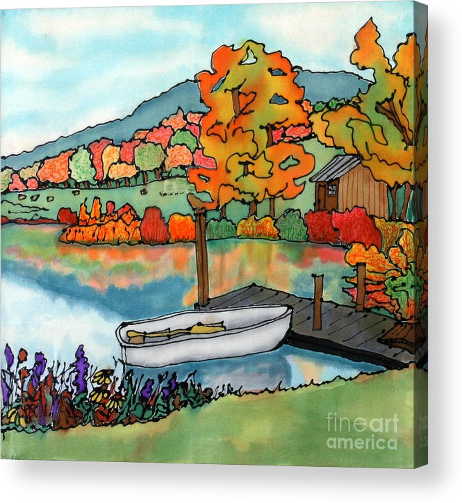 Boat Acrylic Print featuring the painting Fall Boat And Dock by Linda Marcille