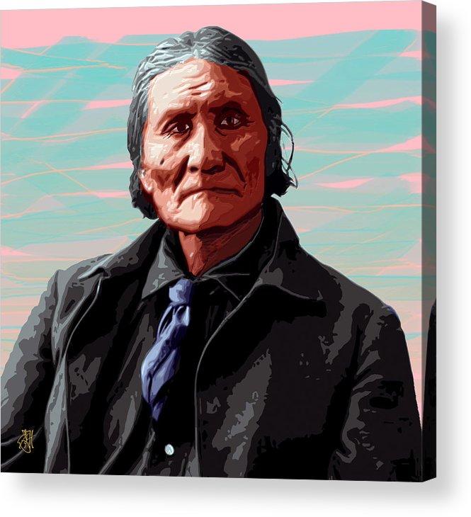 Digital Print Acrylic Print featuring the digital art Geronimo by John Helgeson