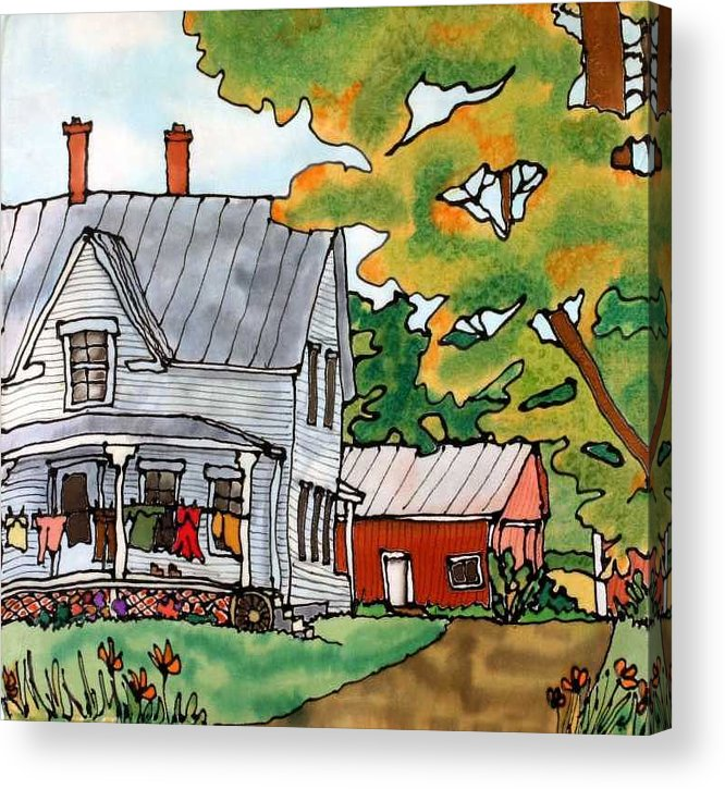 Farm Acrylic Print featuring the painting Laundry Day by Linda Marcille