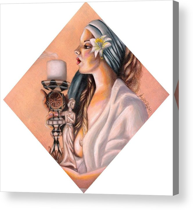 Candle Stick Acrylic Print featuring the drawing Nights Candle by Scarlett Royal
