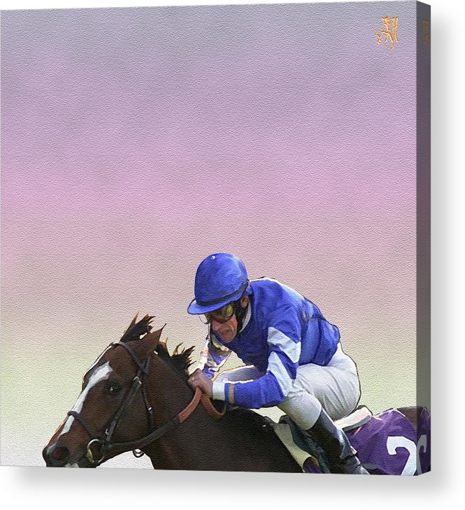 Horse Race Acrylic Print featuring the digital art Ride To Glory by John Helgeson