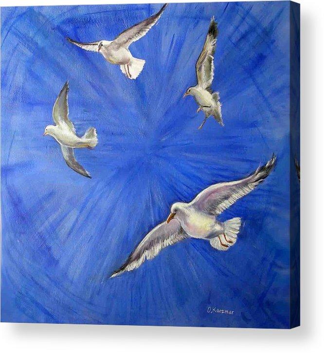Birds Acrylic Print featuring the painting Seagulls by Olga Kaczmar