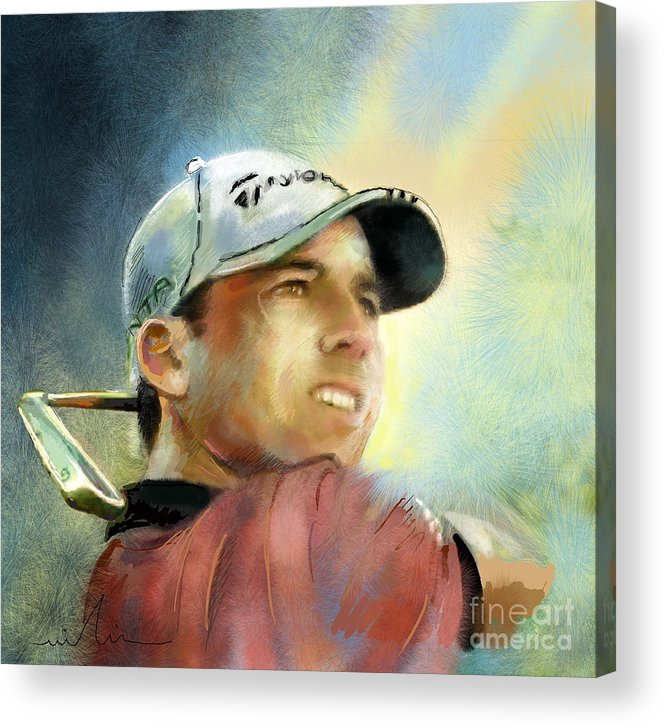 Golf Painting Golfart Castello Masters Spian Sport Acrylic Print featuring the painting Sergio Garcia In The Castello Masters by Miki De Goodaboom
