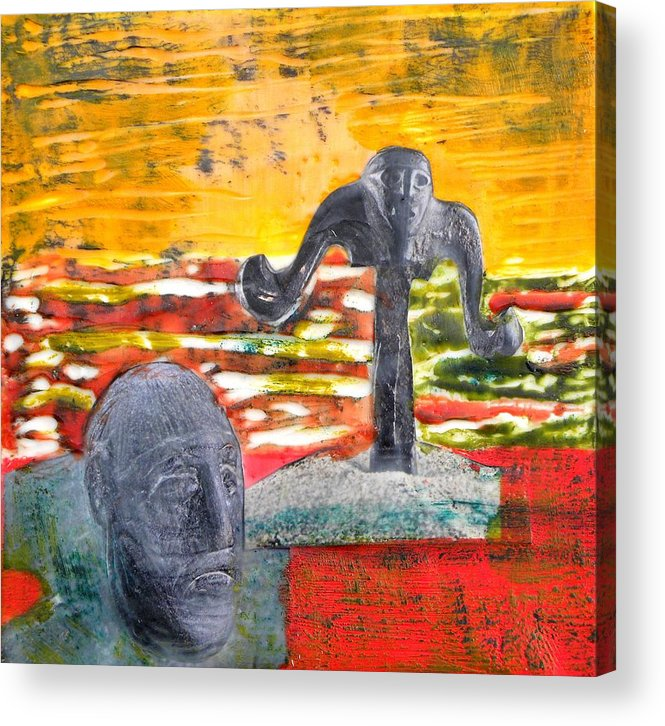 Encaustic On Wood Acrylic Print featuring the painting Standing Guard by Patricia Bigelow