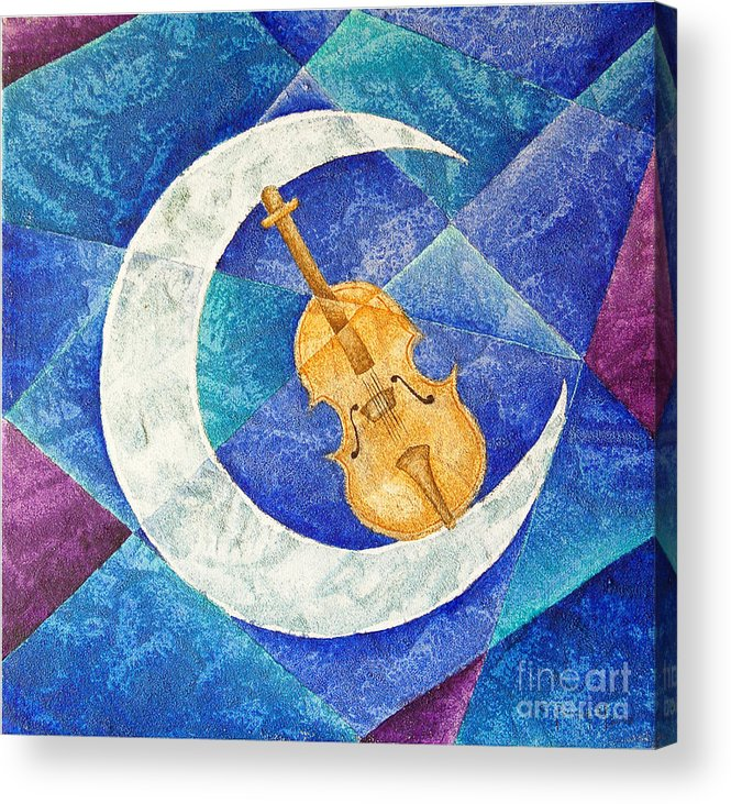 Moon Acrylic Print featuring the painting Violin-moon by Son Of the Moon