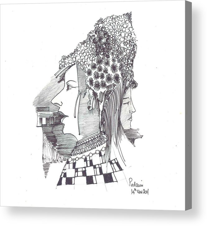Women Acrylic Print featuring the drawing Women With Headgear by Padamvir Singh