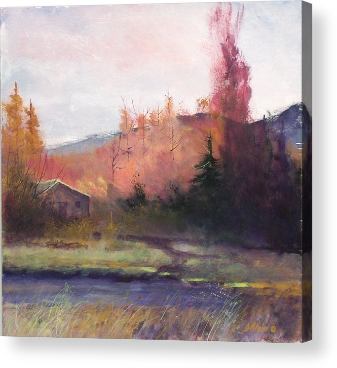 Landscape Acrylic Print featuring the painting Yaak Cabin by Dalas Klein