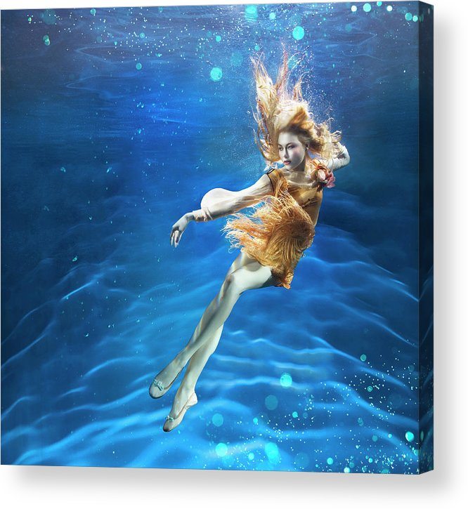 Underwater Acrylic Print featuring the photograph Woman Underwater by Zena Holloway