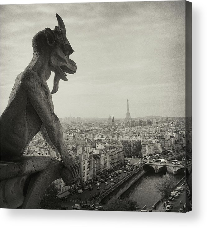 Eiffel Tower Acrylic Print featuring the photograph Gargoyle Of Notre Dame by Zeb Andrews