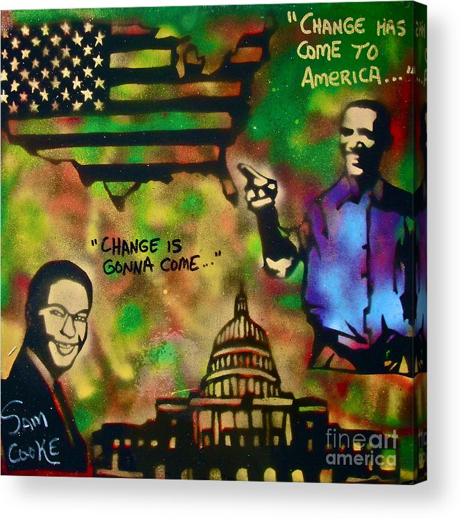Barack Obama Acrylic Print featuring the painting Barack And Sam Cooke by Tony B Conscious