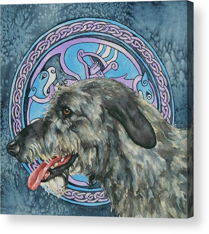 Celtic Acrylic Print featuring the painting Celtic Hound by Beth Clark-McDonal