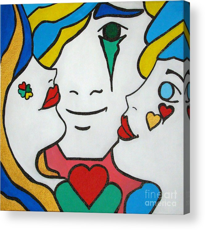 Pop-art Acrylic Print featuring the painting Happy Days by Silvana Abel