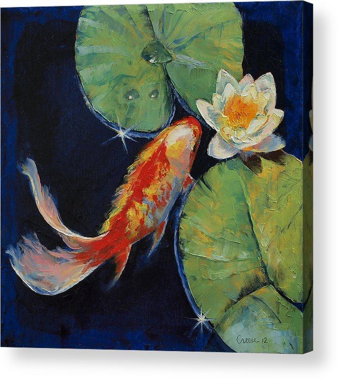 White Lily Acrylic Print featuring the painting Koi And White Lily by Michael Creese