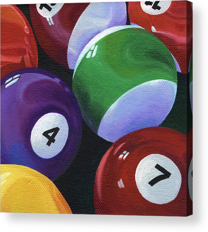 Pool Table Acrylic Print featuring the painting Lucky Seven by Natasha Denger