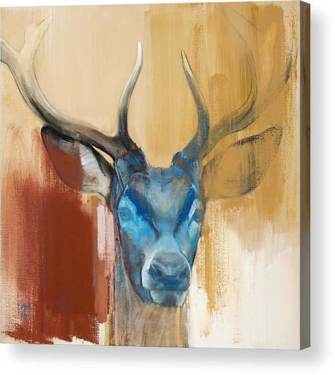 Deer; Stag; Red Deer; Animal; Animals; Mask; Antler; Antlers; Head; Blue; Abstract; Red; Yellow; Wild; Animal Head; Wildlife; Mark; Mark Adlington; Adlington; Adlington; Young Stag; Young Deer; Acrylic Print featuring the painting Mask by Mark Adlington