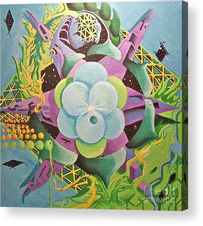 Sacred Geometry Acrylic Print featuring the painting Molecule Of Allowing by Andrew Norris Thompson