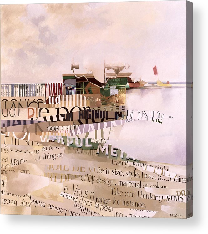 Abstract; Writing; Script; Type; Phrase; Bilingual; Surrealist;language; Lettre; Mot Acrylic Print featuring the painting Out Of Season by Jeremy Annett